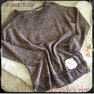 Knox Rose Dusty Plum X Back Sweater NWT